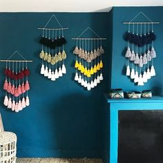 Diy Crafts Hacks, Diy Home Crafts, Decor Crafts, Arts And Crafts, Diy Wall Art, Diy Wall Decor, Macrame Wall Hanging Diy, Macrame Curtain, Creation Deco