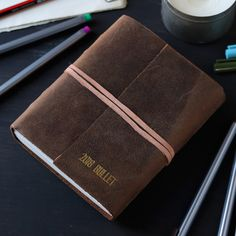 The bullet journal is a fantastic trend of 2018 that will help you put all of these goals in to action. Many of us are wondering what this fresh new trend is and my favourite answer so far is that it is a mood board for your thoughts. Leather Journal, New Trends, Journals, Card Holder, Bullet Journal, Action, Goals, Mood, Fresh