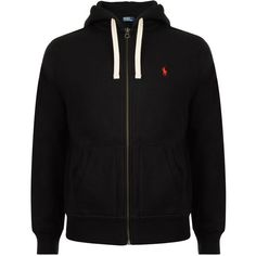 POLO RALPH LAUREN Logo Zip Hood Sweater ($125) ❤ liked on Polyvore featuring men's fashion, men's clothing, men's hoodies, jackets, hoodies, black, boys, shirts, mens zipper hoodies and mens hoodies