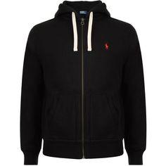 POLO RALPH LAUREN Logo Zip Hood Sweater ($130) ❤ liked on Polyvore featuring men's fashion, men's clothing, men's hoodies, jackets, hoodies, black, shirts, mens zipper hoodies, mens hoodies and mens zip hoodies