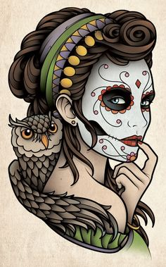 Sam Phillips Tattoo Art Flash ~ Dia de los Muertos Catrina with Owl / Day of the Dead