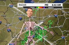 Louisville weatherman dons a green morph suit and a skeleton for his report, and it is awesome