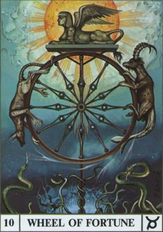 Wheel of Fortune, the Ansata Tarot - love the sphinx! Le Bateleur, Wheel Of Fortune Tarot, Tarot Major Arcana, Oracle Cards, Sacred Art, Tarot Decks, Archetypes, Vladimir Kush, Occult