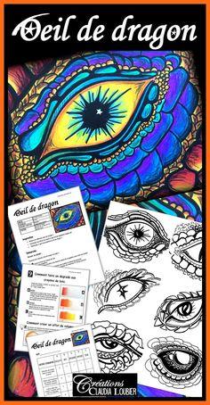 Dessin au crayon de couleurs de bois: Oeil de dragon ! À partir du 2e cycle du primaire et pour tous les niveaux au secondaire. Vos élèves apprendront à créer des dégradés. Le document contient : - La démarche: 2 pages - Un jeu d'images à deviner pour introduire le projet. - Les photos explicatives: 15 pages - Des images pour s'inspirer : 6 yeux de dragon - La grille d'évaluation - Un cercle chromatique - Des exercices guidés pour apprendre à faire des dégradés. School Art Projects, Art School, Programme D'art, Elementary Art Lesson Plans, Art Halloween, Classe D'art, Medieval Party, Art Curriculum, Plastic Art