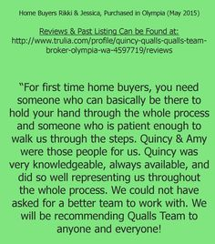 #CONGRATS  & #ThankYou  to Rikki & Jessica!  Your Stellar Recommendation of our Team is so appreciated, we are absolutely thrilled to have been a part of your 1st Home Purchase!!! Reviews & Past Sales can be seen at: http://www.quallsrealestate.com/cp/reviews/ or on #Trulia   #Zillow   #Redfin  (Quincy Qualls - Qualls Team) #weloveourclients   #referrals   #recommendations   #realestate   #olympiahomes   #laceyhomes   #quallsteam   #quallsrealestate