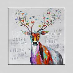 ручная роспись животных / фэнтези современная живопись маслом, холст одна панель с рамкой 4499013 2016 – $118.99