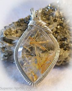 Golden Rutilated Quartz Gem Stone Pendant by superioragates, $35.00