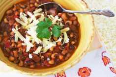 For New Years - An early taste of good fortune with Pork & Black-eyed Pea Chili Lucky Food, Chili Cook Off, Black Eyed Peas, Lunches And Dinners, Soup And Salad, Pork Recipes, Soups And Stews, Main Dishes, Side Dishes