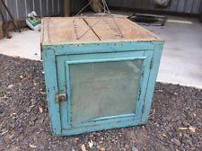 Original ANTIQUE rustic CoolgardieHANGING MEATSAFE Cabinet Timber+teal Mesh cage