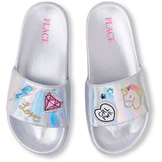 The Children's Place Girls' BG Patch Slides Flat Sandal, . Unicorn Fashion, Unicorn Outfit, Frozen Headband, Justice Shoes, Cute Slides, Barbie Doll Set, Girls Flip Flops, Baby Doll Accessories, Fashion Slippers