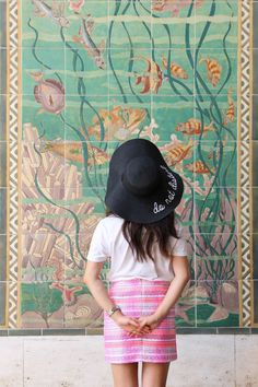 STYLE SMORGASBORD // Summer Vacation Outfit - Eugenia Kim 'Do Not Disturb' Inspired hat from Valleygirl, Petit Bateau White Tee, Marcs Summer Tweed Skirt, bright, pretty mosaic wall travel traveler fashion summer blogger style casual
