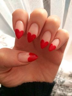 red heart tips nail design