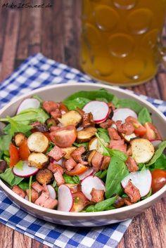Oktoberfest Brezel Fleischkaese Salat Radieschen Tomate Spinat Rezept schnell und einfach Party Oktoberfestparty