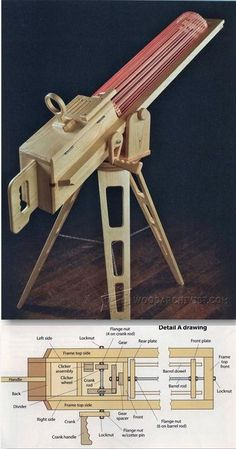 Rapid-Fire Rubber Band Gun - Children's Woodworking Plans and Projects | WoodArchivist.com #WoodWorkingProjects