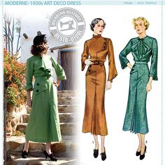 Moderne - 1930's Art Deco Dress Pattern - Wearing History