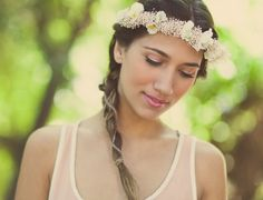 Bridal hair wreath Ivory flower crown with babys by whichgoose, $75.00