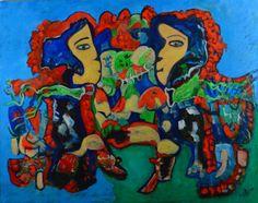 tableau Isafara face ridée 92 x73 cm acrylique huile