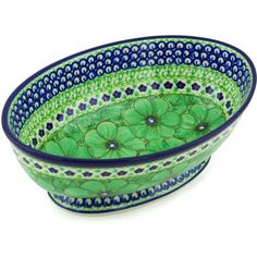 Polmedia Polish Pottery 9inch Stoneware Bowl with Pedestal H3468G Hand Painted from Ceramika Artystyczna in Boleslawiec Poland Shape S463DA79 Pattern P5846AU408D Unikat -- Read more reviews of the product by visiting the link on the image.