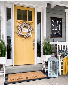Front Door Decor Discover 30 Gorgeous And Inviting Farmhouse Style Porch Decorating Ideas Tis the season of summer days and outdoor spaces to enjoy them so check out our fab collection of farmhouse style ideas for your porch. Modern Farmhouse Porch, Farmhouse Front Porches, Farmhouse Style, Modern Porch, Farmhouse Ideas, Modern Door Mats, Farmhouse Outdoor Decor, Urban Farmhouse, White Farmhouse