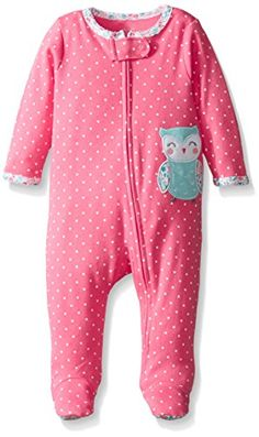 CARTER'S Baby Girls Interlock - Style #115g131, Color PINK, Size 6 MONTHS (6M) - Owl - White - Mint - Aqua - Dots - Flowers - Footed - Footie - 1 Piece - Zipper - Carters. AVAILABLE WHILE SUPPLIES LAST!  https://www.amazon.com/dp/B01DTJDKKA/ref=cm_sw_r_pi_dp_x_uP1HybSQECZBF