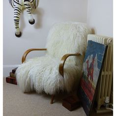 Sheepskin chairs, Designer armchairs and Sheep skin chair, Upholstered in Mongolian wool hardwood frame, Upcycled furniture by Smithers - Ministry of Upholstery £ Ercol Chair, Upholstered Chairs, Knoll Chairs, Lounge Chairs, Recycled Furniture, Cool Furniture, Furniture Ideas, Unwanted Furniture, Homemade Rugs