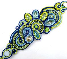 Statement Bracelet Blue Cuff Soutache Bracelet by IncrediblesTN, $99.00