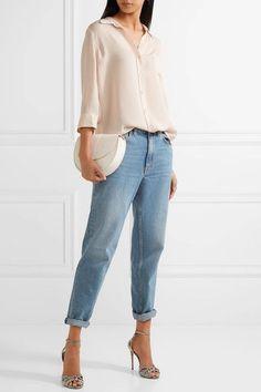 L'Agence - Ryan Silk-georgette Shirt - Peach - medium