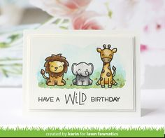 This is the last weekend for our Watercolor Challenge at Lawn Fawnatics! Karin shares her adorable Wild for You to inspire you! Card Making Inspiration, Making Ideas, Watercolour Challenge, Mama Elephant Cards, Watercolor Birthday Cards, Lawn Fawn Stamps, Animal Cards, Scrapbook Cards, Scrapbooking