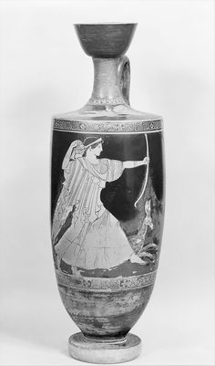 Attributed to the Providence Painter | Terracotta lekythos (oil flask) | Greek, Attic | Classical | The Met