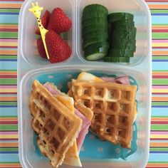 Ham and swiss waffles toddler lunch idea