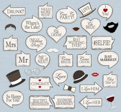 35 Chic Wedding Props Printable Photobooth Vintage