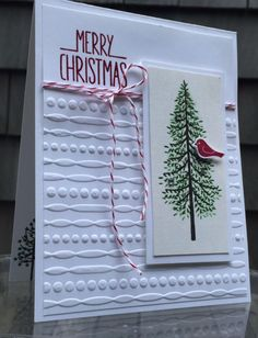 "My version of ""Oh Christmas Tree"" using Stampin' Up's Thoughtful Branches. I…"