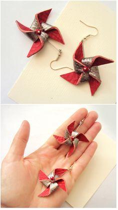 Windmill Earrings, Leather Pinwheels, Dutch Windmill, Red Silver, Statement Earrings, Funky Leather Jewelry, Women Gifts, Holland Propeller