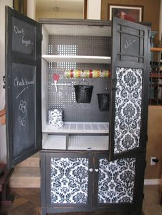 Craft cabinet or Pegboard storage cabinet. Great for a garage workstation with buy stuff or laundry room or potting shed. by ksrose Craft Storage Cabinets, Pegboard Storage, Sewing Room Storage, Craft Cabinet, Craft Room Storage, Craft Organization, Cabinet Ideas, Craft Cupboard, Laundry Storage