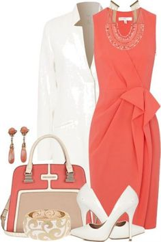 A fashion look from March 2013 featuring ruching dress, white coat and white pumps. Browse and shop related looks. Classy Outfits, Beautiful Outfits, Cute Outfits, Gorgeous Dress, Work Fashion, Fashion Looks, White Fashion, Fashion Jewelry, Dress Outfits