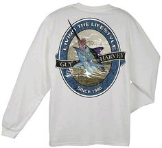 Guy Harvey Shirts - Guy Harvey Lifestyle Label Back-Print Men's Long Sleeve Tee in White or Red, $24.00 (http://www.guyharveyshirts.com/guy-harvey-lifestyle-label-back-print-mens-long-sleeve-tee-in-white-or-red/)