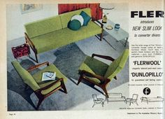 New Fler slim-look furniture, 1961 Australia. I thought it pretty groovy back then as a teenager. Patio Furniture Redo, 1960s Furniture, Mid Century Furniture, Furniture Design, Futuristic Furniture, Space Furniture, Mid Century Art, Mid Century Decor, Mid Century House