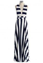 Spotlight Stripes Self-tie Maxi Dress