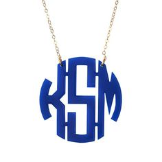 The original acrylic monogrammed necklace in block font. Personalize with choice from a variety of acrylic colors and a gold filled or sterling silver chain.