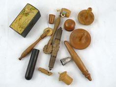 vintage and antique wooden sewing items.