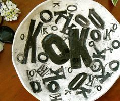 OK Letterpress Ceramic Dish by LoveArtWorks #handmade #ceramic #pottery