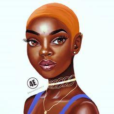 Cécilia #illustration #drawing #art #artist #blackart #blackwoman #blackgirl #goldchain #chocker #jewlery #urban #buzzcut #makeup #melanin #dessin #southafrican #eyebrows #piercing #blackgirl #blue #orange #gingerhair #dessin #prettygirls #bombshell #characterdesign #wacom #photoshop