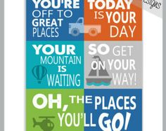 oh the places you'll go scrapbook paper | DR SEUSS - Oh The Places You'll GO 8x10 print - Custom colours ...