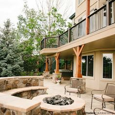 TimberTech Walkout Deck over Hardscape Patio in Denver, Colorado Deck Over, Deck Makeover, Under Decks, Sunroom Decorating, Cool Deck, Outdoor Living Areas, Outdoor Spaces, Decks And Porches, Cool House Designs