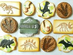 Dinosaur Personalized Custom Decorated Cookies Jurassic World Park Birthday Special Occasion Lego Cookies, Dinosaur Cookies, Dinosaur Birthday Cakes, Cute Cookies, Dinosaur Party, Birthday Party At Park, Birthday Party Themes, Birthday Ideas, 5th Birthday