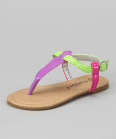 Take a look at this Chatties Purple Patent Colorblock T-Strap Sandal by Chatties on #zulily today!