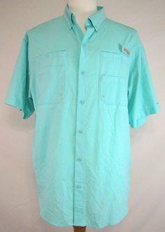 Columbia PFG Fishing Shirt Omni Shade Blue Vented Wicking Size L Men's #Columbia #ShirtsTops