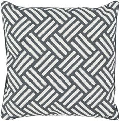 Surya Basketweave Throw Pillow Black, Neutral
