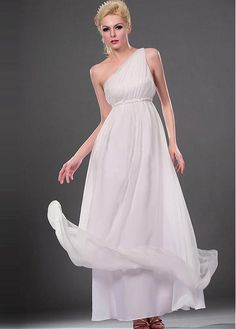 ATTRACTIVE CHIFFON SATIN EMPIRE ONE SHOULDER EMPIRE WAIST WEDDING DRESS LACE FORMAL PROM PARTY BALL GOWN CUSTOM