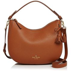 kate spade new york Hayes Street Aiden Small Leather Hobo (17.955 RUB) ❤ liked on Polyvore featuring bags, handbags, shoulder bags, leather shoulder bag, leather hobo handbags, brown leather purse, hobo purses and kate spade purses